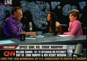 "Attorney Gloria Allred (far right) knows better than most the value of pursuing a case in the court of public opinion. Pictured with her are ""Judge"" Larry King and Plaintiff/Spice Girl Melanie Brown on CNN."