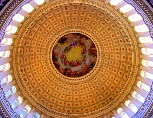 """The mural at the top of the dome is called the """"Apotheosis of Washington""""."""